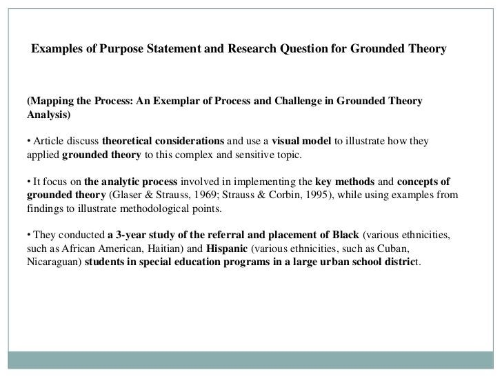 Examples of Purpose Statement and Research Question for Grounded Theory(Mapping the Process: An Exemplar of Process and Ch...