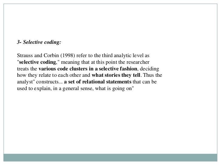 """3- Selective coding:Strauss and Corbin (1998) refer to the third analytic level as""""selective coding,"""" meaning that at this..."""