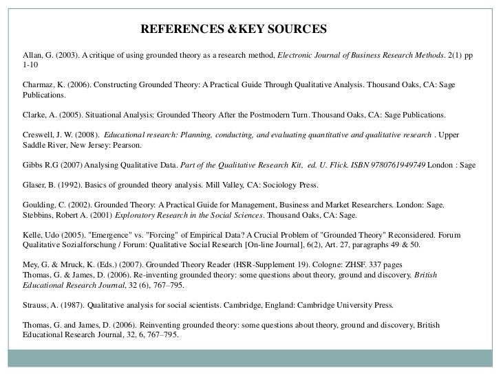 REFERENCES &KEY SOURCESAllan, G. (2003). A critique of using grounded theory as a research method, Electronic Journal of B...