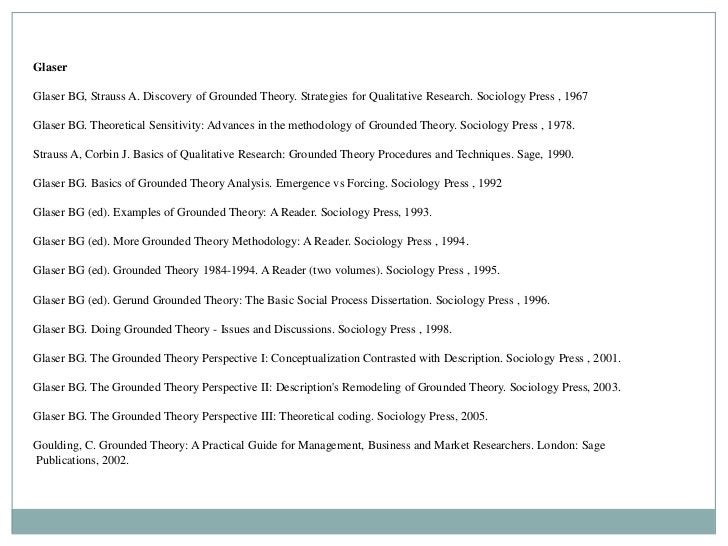 GlaserGlaser BG, Strauss A. Discovery of Grounded Theory. Strategies for Qualitative Research. Sociology Press , 1967Glase...