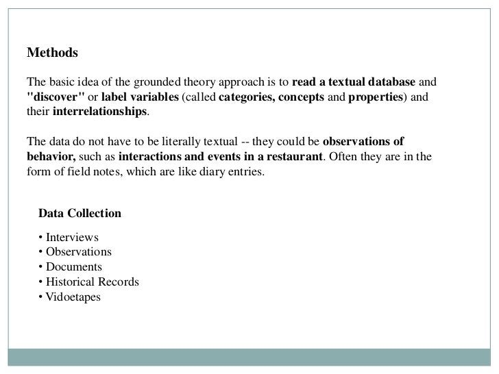 """MethodsThe basic idea of the grounded theory approach is to read a textual database and""""discover"""" or label variables (call..."""