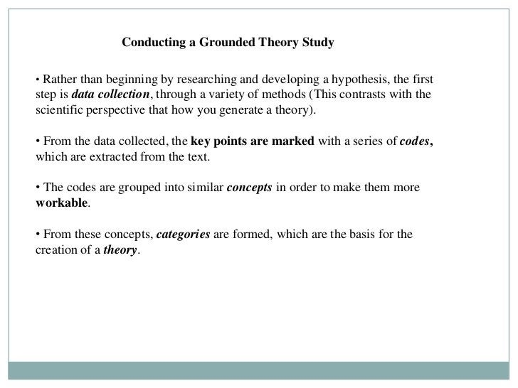 Conducting a Grounded Theory Study• Rather than beginning by researching and developing a hypothesis, the firststep is dat...
