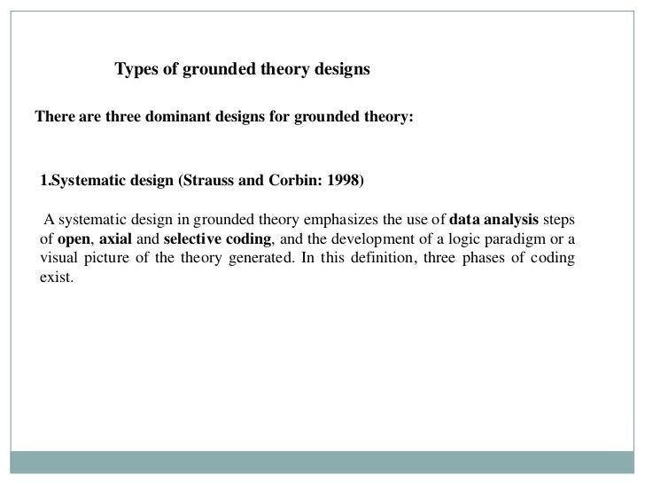 Types of grounded theory designsThere are three dominant designs for grounded theory:1.Systematic design (Strauss and Corb...