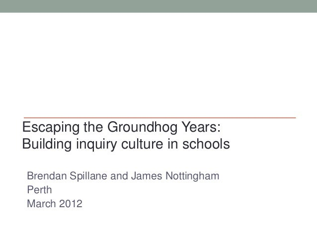 Brendan Spillane and James Nottingham Perth March 2012 Escaping the Groundhog Years: Building inquiry culture in schools