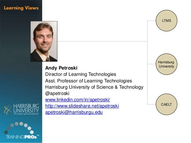 Andy Petroski  Director of Learning Technologies  Asst. Professor of Learning Technologies  Harrisburg University of Scien...