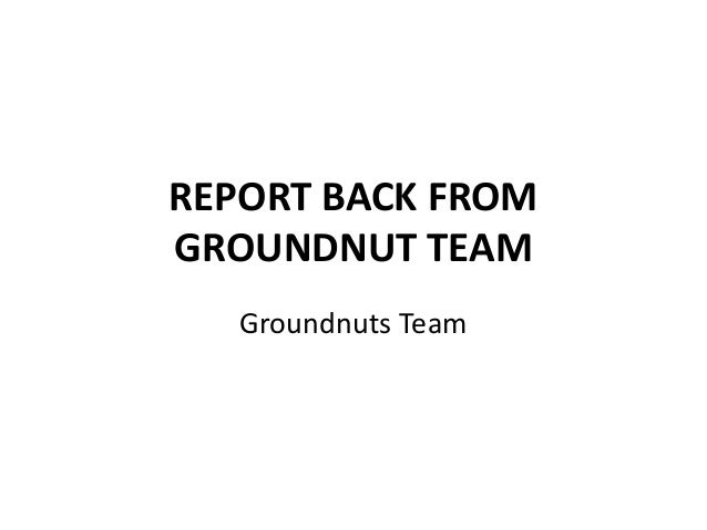 REPORT BACK FROM GROUNDNUT TEAM Groundnuts Team