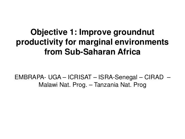 Objective 1: Improve groundnut productivity for marginal environments from Sub-Saharan Africa EMBRAPA- UGA – ICRISAT – ISR...
