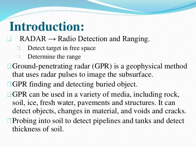 ground penetrating radar thesis Ground-penetrating radar (gpr) is a non-intrusive geophysical observation method based on propagation and reflection of high-frequency electromagnetic waves in the.