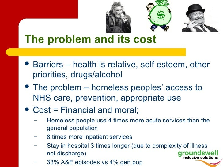 The problem and its cost   Barriers – health is relative, self esteem, other    priorities, drugs/alcohol   The problem ...