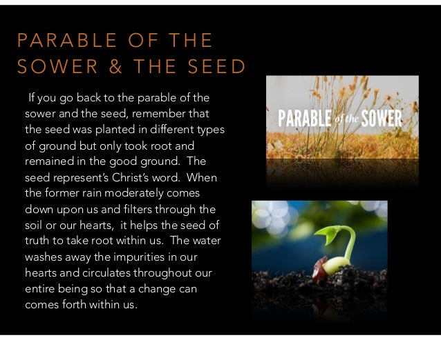 PA R A B L E O F T H E S O W E R & T H E S E E D If you go back to the parable of the sower and the seed, remember that th...