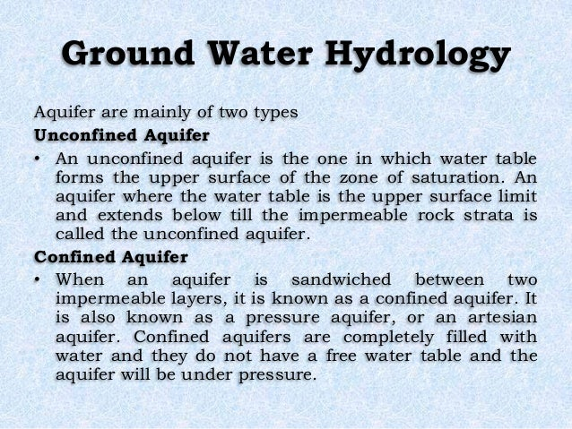 Ground Water Hydrology Aquifer are mainly of two types Unconfined Aquifer • An unconfined aquifer is the one in which wate...