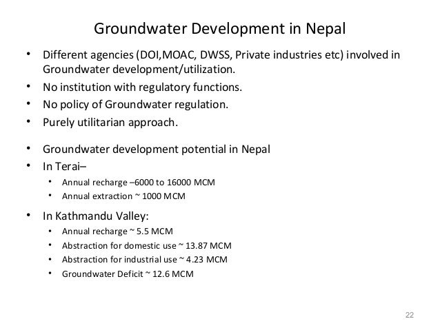 groundwater use in kathmandu valley Kathmandu valley groundwater basin in central nepal (data sources: surface and groundwater basin boundary and recharge areas from jica (1990) river networks from.