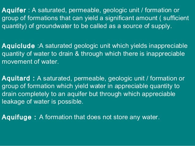 Potentiometric Surface or Piezometric surface Represents the areal variation of the head of an aquifer