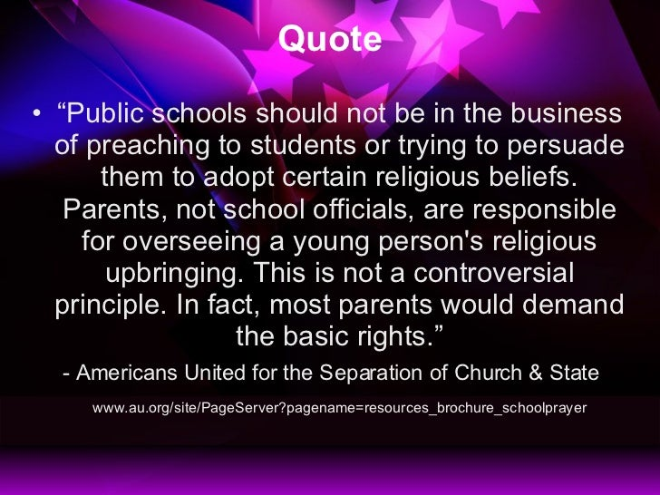 """should religions be taught in public schools essay Rules are for schmucks: should religion be taught in problems with the way religion is actually taught in public schools  to write an essay """"god does."""