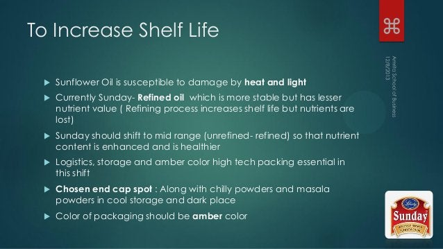 To Increase Shelf Life  Sunflower Oil is susceptible to damage by heat and light  Currently Sunday- Refined oil which is...