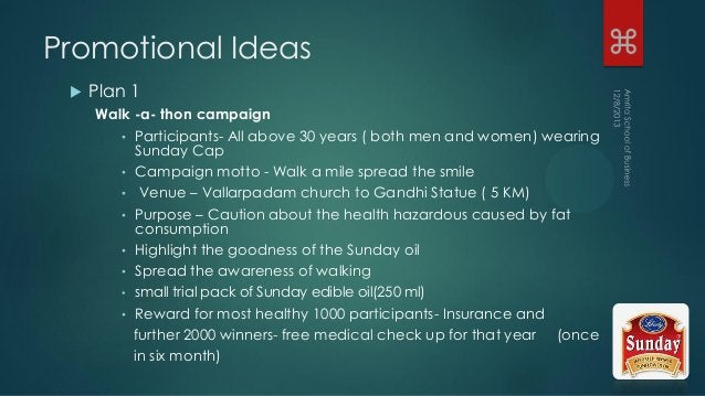 Promotional Ideas  Plan 1 Walk -a- thon campaign • Participants- All above 30 years ( both men and women) wearing Sunday ...