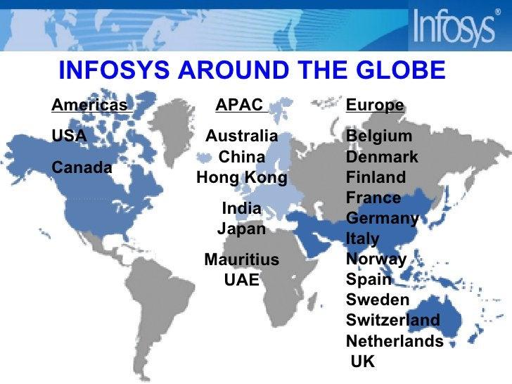 INFOSYS AROUND THE GLOBE  Americas   USA Canada APAC  Australia China Hong Kong India Japan Mauritius UAE Europe Belgium D...