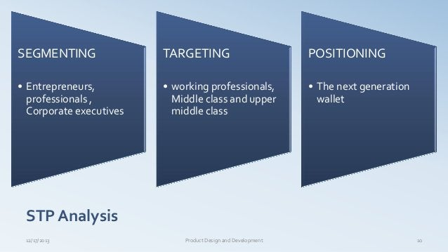 SEGMENTING • Entrepreneurs, professionals , Corporate executives TARGETING • working professionals, Middle class and upper...