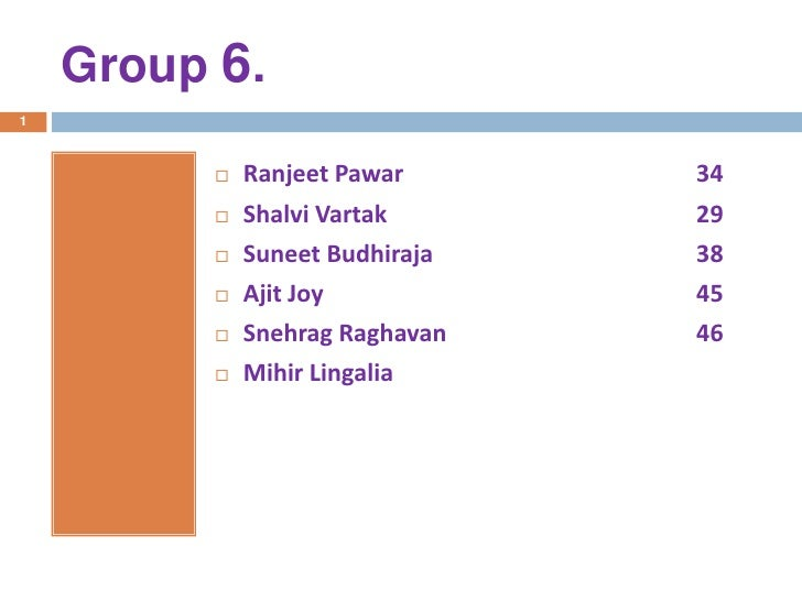 Group 6.<br />1<br />RanjeetPawar34<br />ShalviVartak                                                  29<br />Suneet...