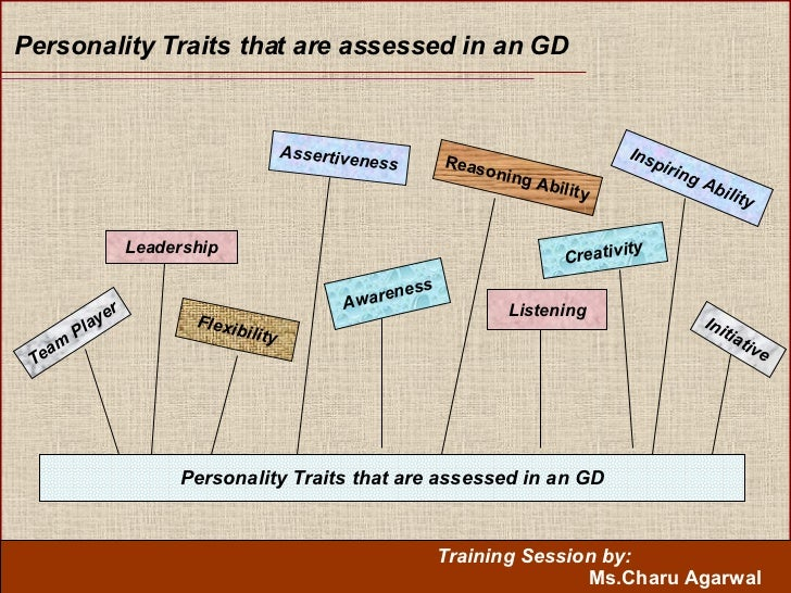 Personality Traits that are assessed in an GD Personality Traits that are assessed in an GD Leadership Flexibility Asserti...