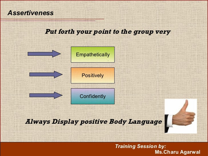 Assertiveness Put forth your point to the group very   . Empathetically Positively Confidently Always Display positive Bod...