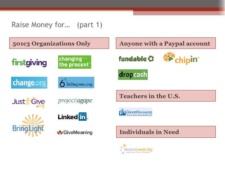 Raise Money for…  (part 1) <ul><li>501c3 Organizations Only </li></ul><ul><li>Anyone with a Paypal account </li></ul>Teach...