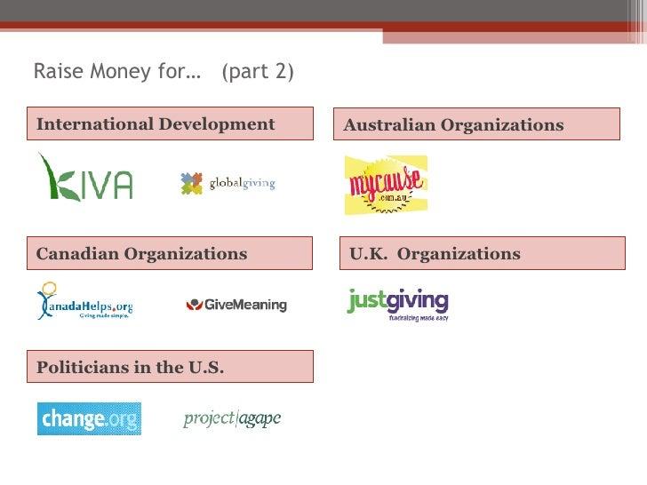 <ul><li>Australian Organizations </li></ul>International Development U.K.  Organizations Raise Money for…  (part 2) Canadi...