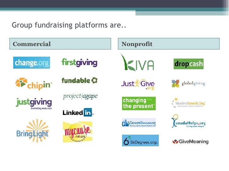 Group fundraising platforms are.. <ul><li>Commercial </li></ul><ul><li>Nonprofit </li></ul>