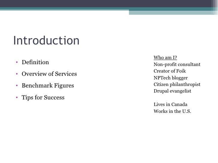 Introduction <ul><li>Definition </li></ul><ul><li>Overview of Services </li></ul><ul><li>Benchmark Figures  </li></ul><ul>...