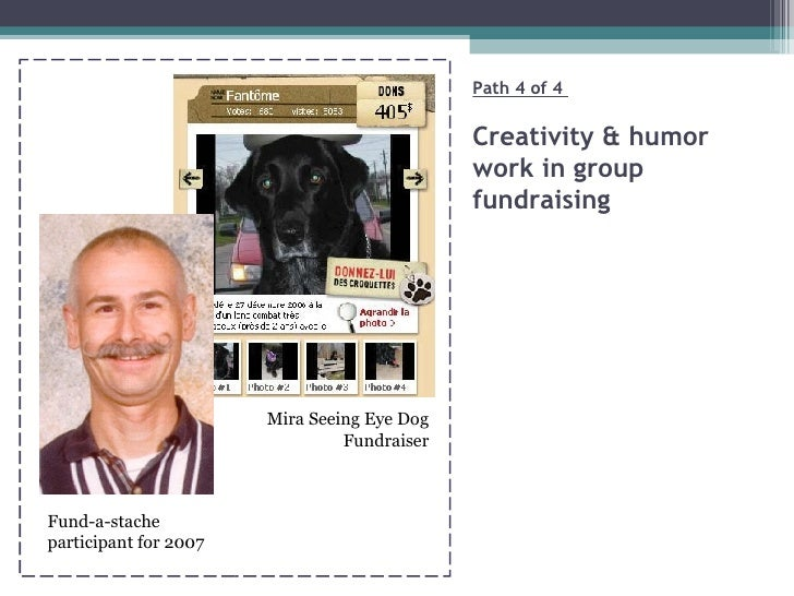 Path 4 of 4  Creativity & humor  work in group fundraising Fund-a-stache participant for 2007 Mira Seeing Eye Dog Fundraiser