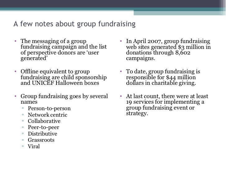 A few notes about group fundraising <ul><li>The messaging of a group fundraising campaign and the list of perspective dono...