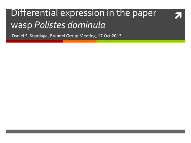 Differential expression in the paper wasp Polistes dominula Daniel S. Standage, Brendel Group Meeting, 17 Oct 2013  