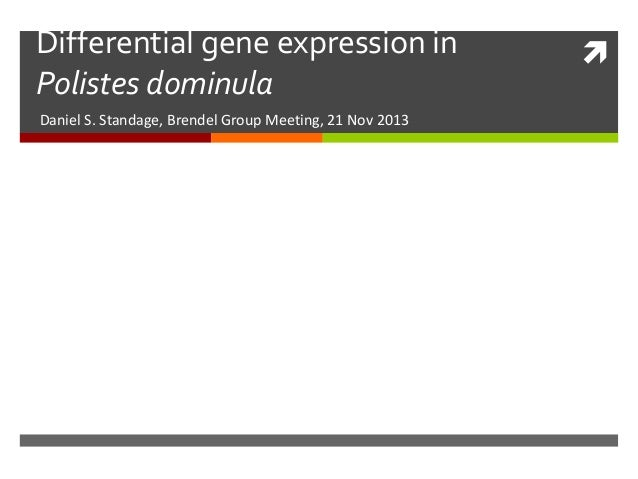 Differential gene expression in Polistes dominula Daniel S. Standage, Brendel Group Meeting, 21 Nov 2013  