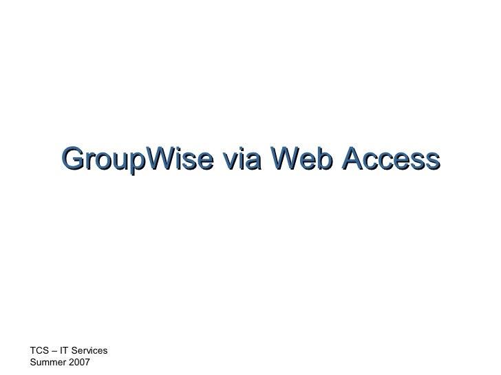 GroupWise via Web Access