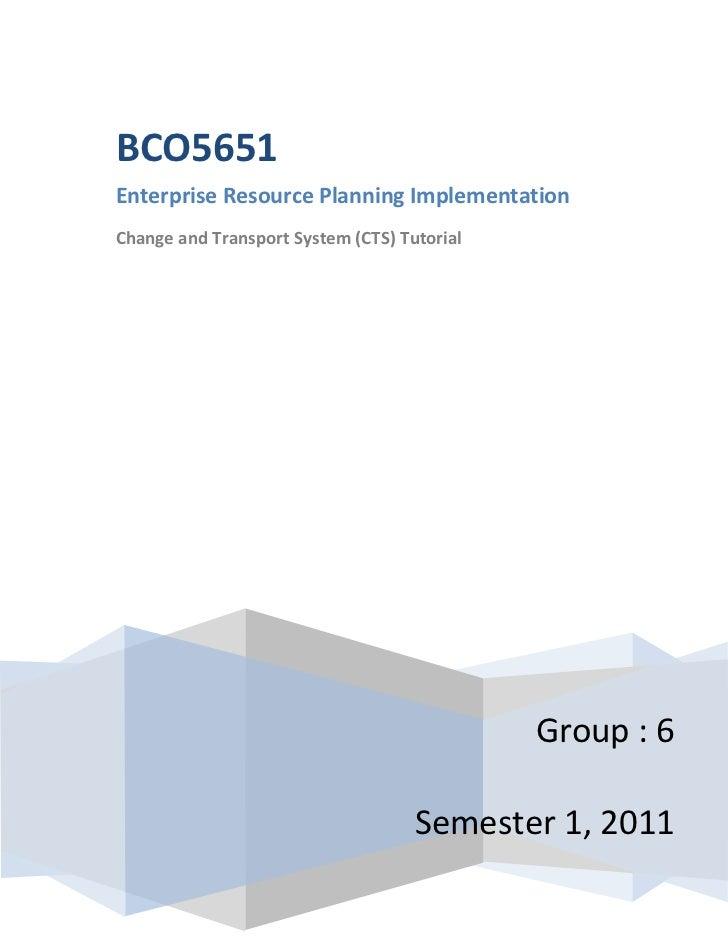 centercenterGroup : 6Semester 1, 2011BCO5651Enterprise Resource Planning ImplementationChange and Transport System (CTS) T...