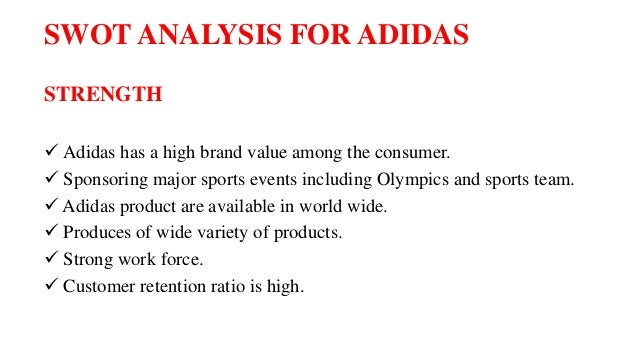 swot analysis on adidas case study Adidas swot analysis, segmentation, targeting & positioning (stp) are covered on this page analysis of adidas also includes its usp, tagline/ slogan and competitors.