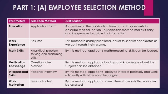 Employee selection excercise