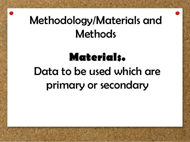 Materials and methods section of thesis