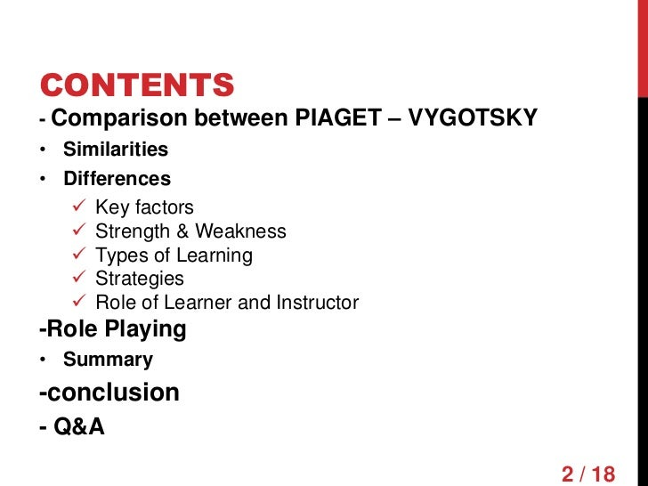 comparing piaget and vygotsky