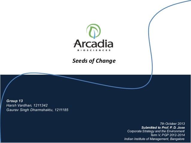 Arcadia Biosciences Seeds of Change Case Study Solution ...