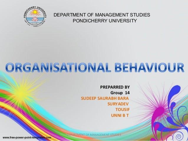 PREPARRED BY Group 14 SUDEEP SAURABH BARA SURYADEV TOUSIF UNNI B T DEPARTMENT OF MANAGEMENT STUDIES PONDICHERRY UNIVERSITY...