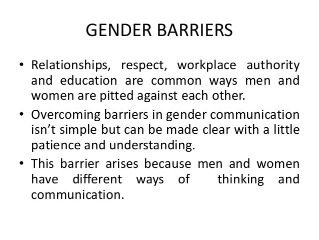gender barriers
