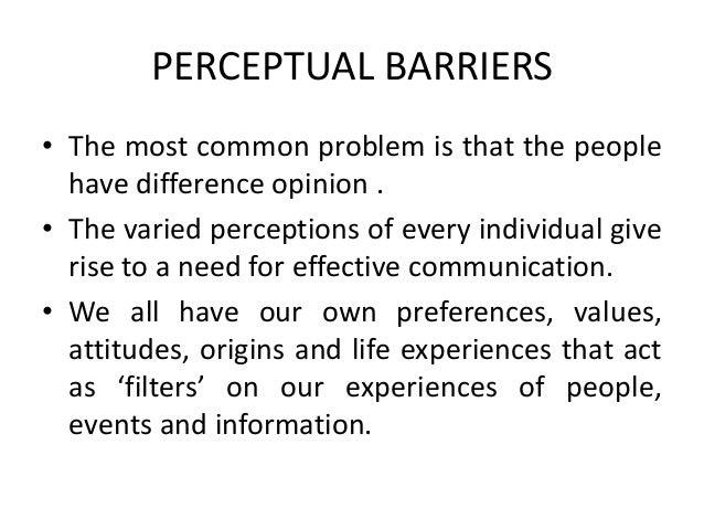 perceptual barriers to communication There are several different types of communication problems that can plague an  organization, but some of the more difficult ones involve perceptual barriers.