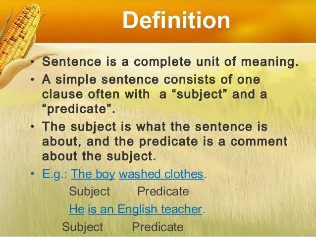 The Simple Sentence  Slide 2
