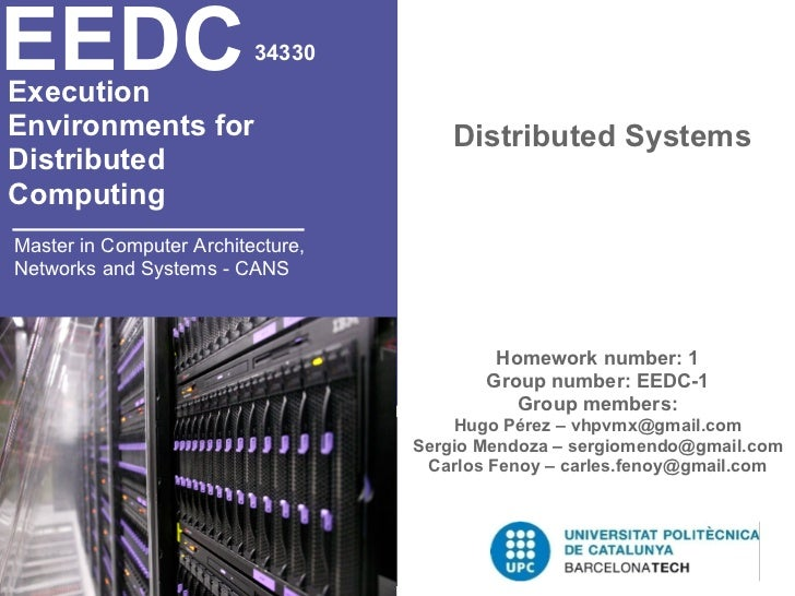 EEDCExecution                          34330Environments for                       Distributed SystemsDistributedComputing...