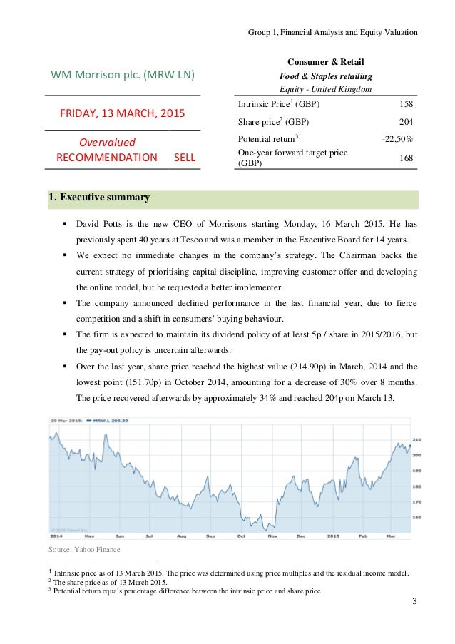 financial performance of morrisons plc The report contains financial analysis of the latest financial results of wm  morrison supermarkets plc, published in march 2015 two valuation.