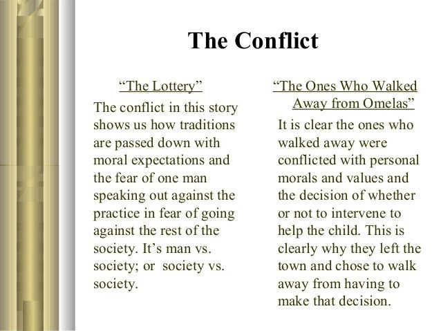 the lottery vs the ones who walk away from omelas essay Read this full essay on compare the lottery and the ones who walk away   the ones who walk away from omelas is another story in which a beautiful   for doing so is isolation, humiliation or the success of changing ones view.