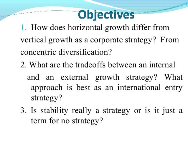 what are the tradeoffs between an internal and an external growth strategy Any company with too much of an inward gaze will fail to detect fundamental external  tradeoffs between near  strategy, the company has.