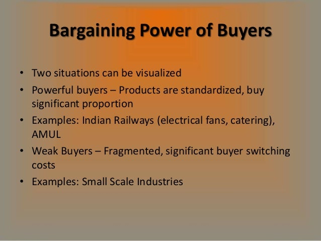bargaining power of buyers essay Bargaining power of buyers buyers have limited bargaining power against the pork remember that this is just a sample essay and since it might not be.