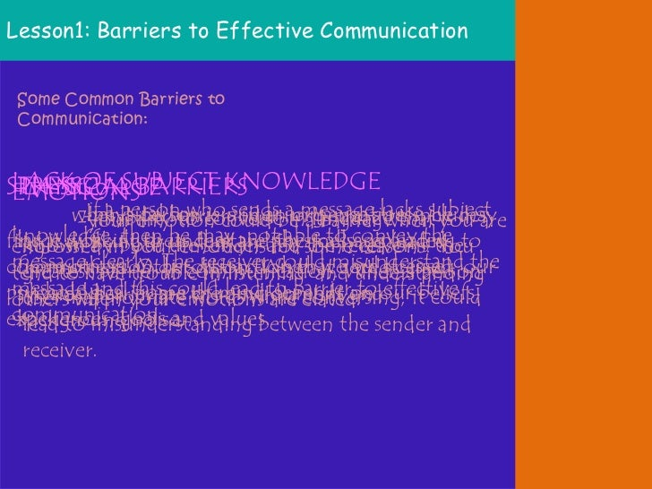 six barriers to effective communication Communication keywords: barriers, effective, therapeutic communication,  nurses, patients  registered nurses who have worked for six months and  above.